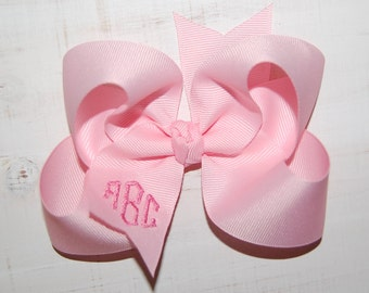 Monogram Bow with Headband Option - Custom Monogrammed Bow - Custom Embroidered Bow - Personalized Bow - Your Choice of Over 99 Colors