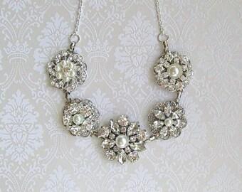 Statement wedding Necklace bridal statement pearl jewelry Crystal necklace Pearl crystal Bridal necklace rhinestone Bridal Jewelry