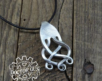 Tortis Fork Pendant - Handcrafted Silverware Jewelry Creations from Doctor Gus - Made from Forks - Steampunk Boho Goth Style Necklace
