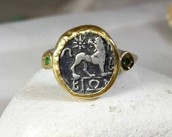 Gold Ancient Coin Ring, Statement Ring, Ancient Coin Jewelry, solid 22 kt  gold and silver ring,  Lion coin ring, Leo Horoscope ring