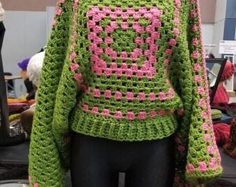Pink and Green Poncho/ Crochet Poncho/ Crochet Granny Square Poncho/ Collar Poncho/ Fall Poncho/ Bohemian Poncho/ AKA Poncho