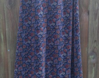 VINTAGE Printed Velvet Skirt Size 8 SMALL Extra Small