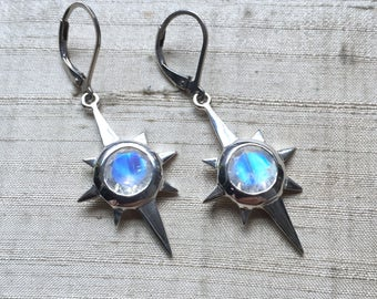 Rainbow Moonstone and Sterling Silver- North Star Earrings