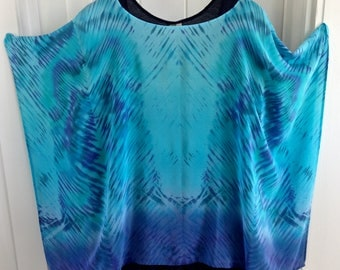 Custom Order - Turquoise Medium Length Poncho- CONVO FIRST BEFORE You Order - Hand Dyed & Hand Sewn Crepe de Chine Silk Tunic