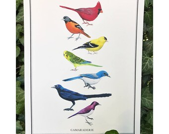 Camaraderie - Benefit print for the Southern Poverty Law Center - Diversity - Bird Art - Rainbow - Nature Art - Inspirational - Ryan Berkley