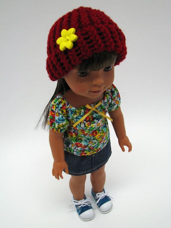 """14 Inch Doll Clothes - Fits Like Wellie Wisher - 14"""" Doll Hat - 14.5"""" Doll Knitted Hat - Dark Red - Handmade - American Doll - Doll Boutique"""