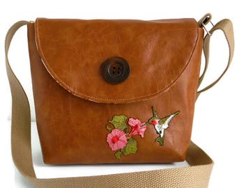 Hummingbird Flower Applique - Satchel - Crossbody Bag - Vegan - Faux Leather