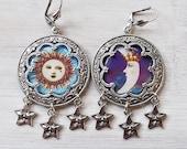 Sun Moon earrings, celestial earrings, tarot earrings, tarot card jewelry, Sun tarot, star earrings, pagan earrings, gypsy earrings, purple