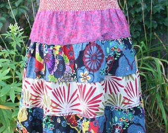 Hippie short skirt flowered India print cotton layered // patchwork // tube top waist // Medium // floral colorful flower child