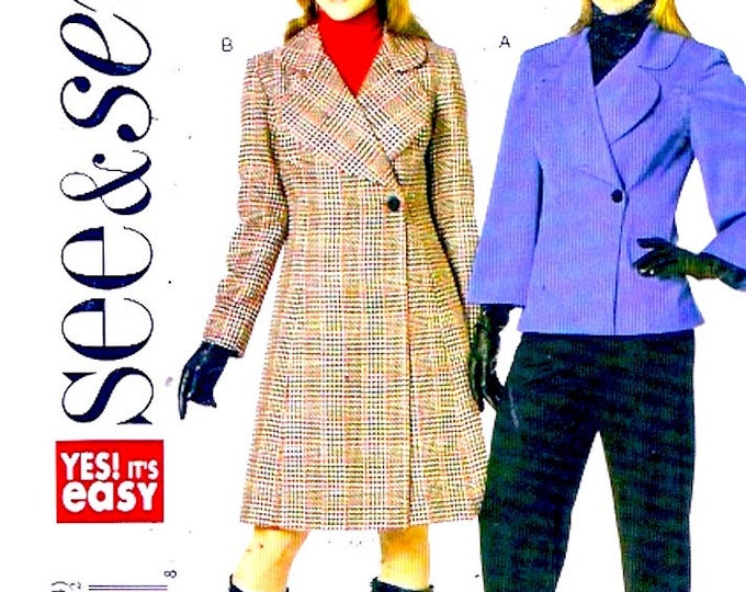 Womens lined coats Autumn fall jacket casual chic sewing pattern See and Sew 5515 Size B 16 to 24 includes plus size UNCUT