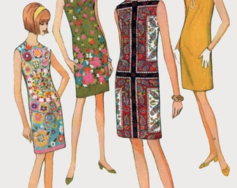 Vintage 1960s MOD Sheath Dress Sleeveless Shift Wiggle Dress Sewing Pattern McCalls 8720 Size 11 Bust 31.5