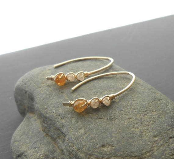 Citrine Zircon Gold Earrings, Gold Filled Open Hoop Wire Wrapped Gemstone Earrings