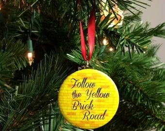 "Wizard of Oz Follow the Yellow Brick Road  2.25"" Christmas Tree Ornament"