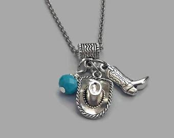 Western Necklace, Cowboy Boot Necklace, Cowboy Hat Necklace, Cowgirl Necklace, Western Charm Jewelry, Cowgirl Charm, Cowboy Charm