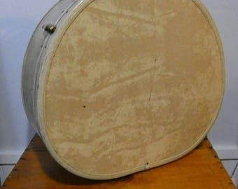 Vintage Samsonite Suitcase - light brown, round