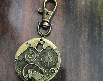 Extra Large Steampunk Progress Keeper, Clip on Charm, knitting, stitchmarkers, knitter gift, Key Charm, Zipper Charm, Antique Bronze