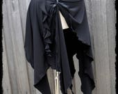 Black Cascading Pixie Skirt, Size Small to Medium - Ready to Ship - Stretch Jersey Tribal Gothic Festival Witch