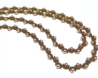 rose gold and bronze pearl necklace,rose gold beaded necklace,rose gold pearl beaded necklace,bronze pearl necklace,wedding, bridesmaid gift