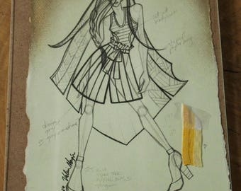 Original Fashion Sketch by Project Runway Designer, Fashion Illustration with Fabric Clippings, Exclusive Piece, Wall Art Print, Home Decor