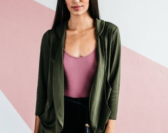 Olive Tri-Pocket Cardigan, Slimming, Travel Wear
