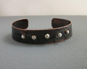 Blackened Copper Bracelet with silver granules - copper jewelry - copper bracelet - mixed metal cuff -rustic bracelet- MEDIUM