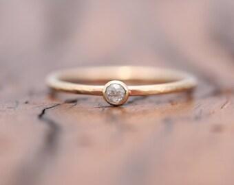 rose cut diamond stacking ring, petite diamond ring, recycled gold stacking ring,  Rachel Wilder Handmade Jewelery