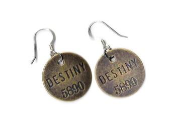 Graduation Gift, Metal Stamped Earrings, Stamped Jewelry, Statement Jewelry, Destiny Stamped Earrings, Metal Earrings, Yoga Earrings