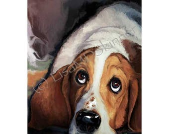 Bassett Hound Art Print - Hand Painted Digital - Pet Animal Portrait