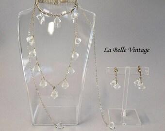 Art Deco Crystal Set Vintage 30s Complete Parure Sautoir Necklace Bracelet Earrings