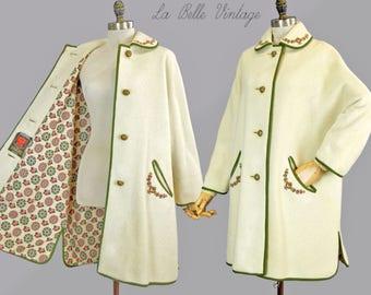 Vintage 60s Embroidered Loden Coat L ~ Trachten Dirndl Ivory Weatherproof Jacket ~ German Sportcoat