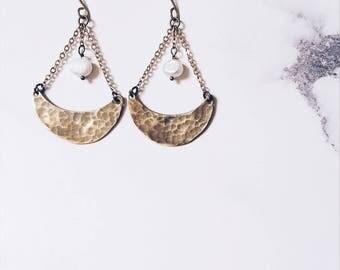 Crescent moon earrings, gold brass & white freshwater pearls, elegant tribal moon, boho chic moon