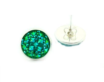 Silver and Emerald Faux Druzy Stud Earrings