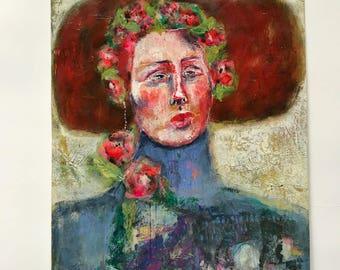 Florence, Mixed media folk art Portrait by Mystele