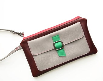 Womens Leather Clutch Wallet, Monogram Clutch, Leather Wristlet Wallet, Gift for Woman - The Lulu Wristlet in Burgundy