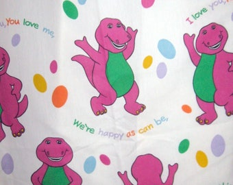 Vintage barney etsy for Purple dinosaur fabric