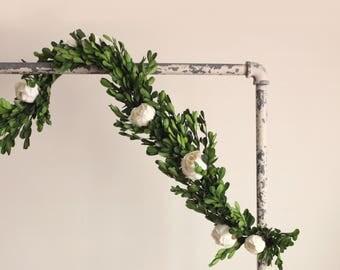 Boxwood garland, Wedding ceremony backdrop, Boxwood garland, Green leaf wedding arch, Wedding greenery, Ivory white flower - 3 ft.