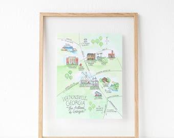 Watkinsville, Georgia Map 8x10 Art Print