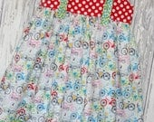 Going out of Business SALE, Girls Knot Dress, Spring Dress, Bicycle Dress, Ready to ship, Size 7/8 dress