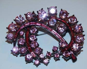 Vintage Pink Rhinestone Brooch, Elegant, Tantalizing Gorgeous Pink Rhinestones , Estate Christmas Brooch