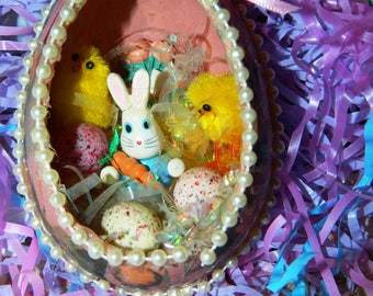 Vintage Handmade Easter Egg Ornament, Peter Cotton Tale, Eggs, Peeps, Decoupage, Beaded, Easter Grass,