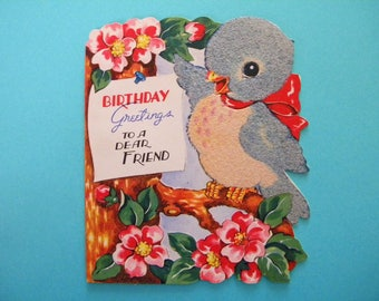 Vintage Unused Flocked Birthday Card with Fuzzy Bluebird and Cherry Blossoms