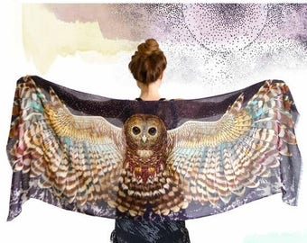 SALE Owl Scarf, Pashmina Scarf, Wings Wrap, Owl Shawl Wrap, Silk Scarf, Birds Scarf, Wearable Art, Feather Print Scarf, Nature Scarf