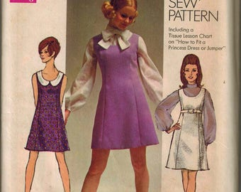 1969 Simplicity 8083 Retro Mod Dress Sewing Pattern Vintage Size 14 Different Trims