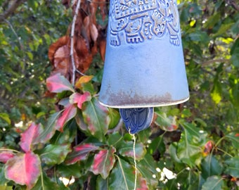 Bohemian bell with blue Aura quartz crystal, ceramic wind chime. Elephant bell, sacred geometry. Indoor or outdoor boho decor.
