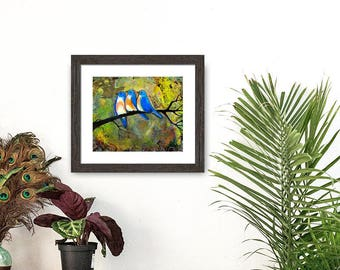 Bird Print Bluebirds Art, Fine Art Signed Print, Three Little Birds Print, Woodland Decor, 8X10