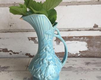 Vintage McCoy Pottery Ewer - Turquoise Textural Grape