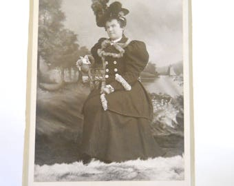 Vintage Cabinet Card Photograph • 1800s Lady in Fur Trimmed Coat
