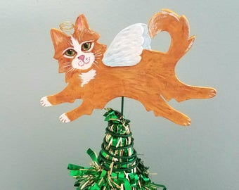 Cat Angel Tree Topper ~ Orange Cat ~ Cat Topper ~ Small Tree Topper ~ Cat Christmas Tree Topper ~ Cat Decor ~ Cat Theme Tree