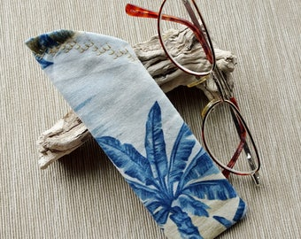 Reader Eyeglass Case Sleeve, Blue Palmtree Tropical Fabric Case, Reader Glass Sleeve or Case, Reader Glass Sleeve, Gift for Dad under 10