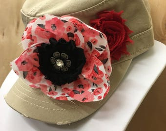 Ladies Cadet with Embellishment and Flowers - Free Shipping